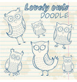 Cartoon owl stylish sticker doodle set collection vector image