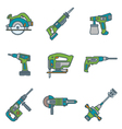 color outline house remodel power tools icons vector image