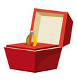 gold ring in a red box icon cartoon style vector image