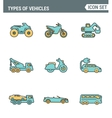 Icons line set premium quality of types vehicles vector image