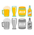 set icons of a beer drinks vector image
