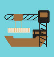 icon in flat design container loading ship vector image