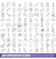 100 operation icons set outline style vector image