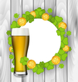 Celebration card with glass of light beer vector image