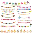 Colorful flags garlands set and kids vector image