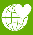 earth world globe with heart icon green vector image