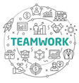 teamwork linear slide for the vector image