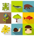 Environment icons set flat style vector image