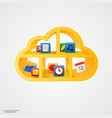 yellow cloud shelf with icons vector image