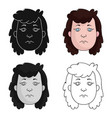 cavewoman face icon in cartoon style isolated on vector image