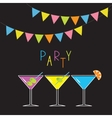 Glasses with different cocktails Triangle paper vector image