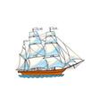 beautiful sailing ship sailboat with white sails vector image