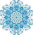 Blue floral circle pattern in gzhel style vector image