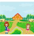 children going to school vector image