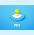 pin isometric icon isolated on color background vector image