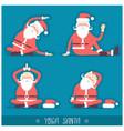Santa claus doing yoga isolated christmas card vector image
