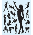 Sexy girl gesture silhouettes vector image