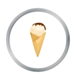 Ice cream on the waffle cone icon in cartoon style vector image