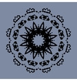 Symmetrical mandala of ink splashes on gray vector image