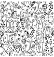 Seamless cute pattern of flora and fauna vector image