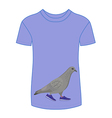 Going gray pigeon in blue sneakers t-shirt vector image