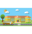 Flat design of school building and parked school vector image