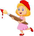 Little girl painting with paintbrush vector image