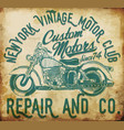 new york vintage t-shirt graphic motorcycle club vector image