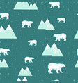 seamless background with white bear and iceberg vector image