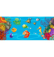 Scene with many fish underwater vector image