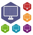 Computer monitor icons set vector image vector image