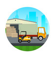icon warehouse with forklift truck vector image