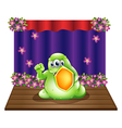 A brave monster in the middle of the stage vector image
