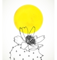 Ard with botanical drawing of cactus flower vector image