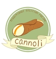 Cannoli stamp or label on a white background vector image