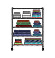colored crayon silhouette of rack with pile towels vector image