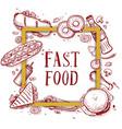 fast food vintage hand drawn menu cover vector image