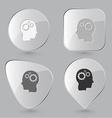 Human brain Glass buttons vector image