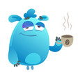 monster drinking coffee vector image