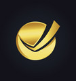 round check list business gold logo vector image