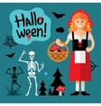 Halloween Little Red Riding Hood Cartoon vector image