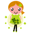 Little cute red hair girl for Saint Patricks Day vector image
