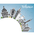 valencia skyline with gray buildings blue sky and vector image