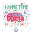 Vintage hippie time print with a mini van vector image