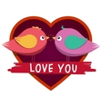 Heart shaped frame and cute inlove birds vector image vector image