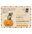 Halloween party vintage postcard invitation vector image