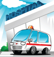 ambulance at hospital vector image vector image