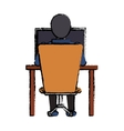 cartoon guy back working laptop chair desk vector image
