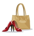 beige purse and red heel wo vector image
