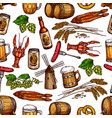 beer pub snacks and drinks seamless pattern vector image